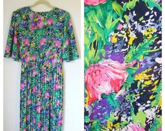 Vintage Bright FLORAL Print Flutter Sleeve Belted Midi Dress size M/Lrg/XL