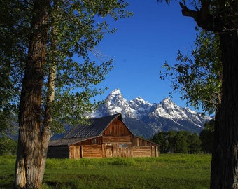 Mormon Row Barns in Grand Teton National Park.   - A Digital Print Download or A Cross Stitch Pattern from Vintage Photograph