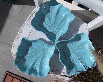 Set of 3 vintage aqua leaf dishes