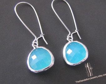 Mint Drop Earrings, Glass Earrings, Dangle Earrings, Gift, Jewelry, SALE 10% OFF