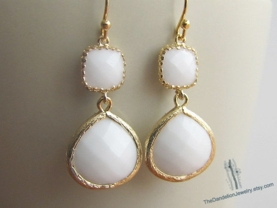 SALE 10% OFF - White opal framed glass earrings in gold, dangle earrings, drop earrings, chandelier earrings