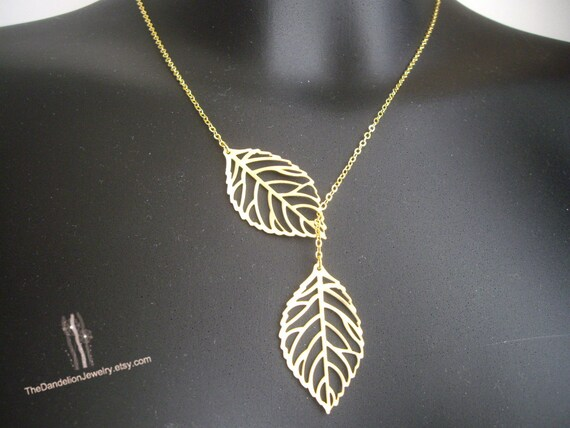 SALE 10% OFF: Leaf Necklace Lariat Necklace Jewelry Gift