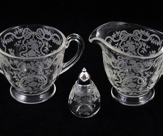 Vintage Fostoria Romance Glass Footed Creamer Sugar Bowl Shaker Bows Ribbons