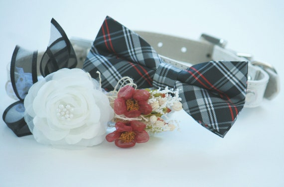 Black and white Dog Collars - Bridesmaid & Best Man - Chic unique Wedding Dog Collar. bowtie