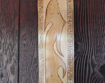 Hand wood burned skateboard deck