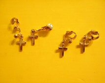 4 Pr. of Goldplated Cross Earrings with Clutch Fasteners