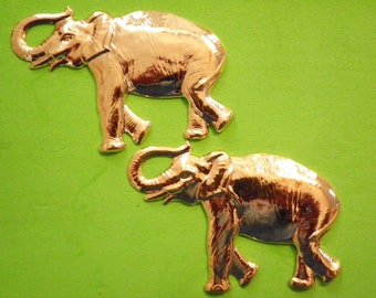2 Vintage Goldplated 100mm Large Elephant Stampings