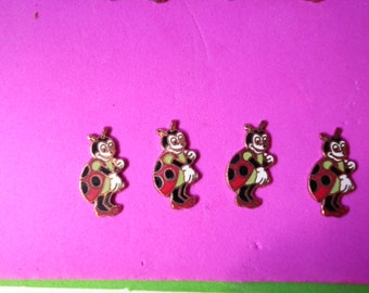 6 Signed Hand Painted Vintage Disney Lady Bugs
