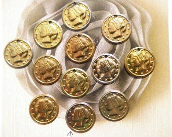 12 Vintage Brass Coated 17mm Roman Coin Charms