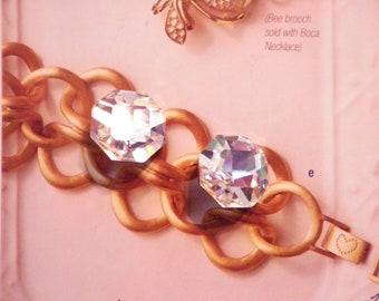6 Vintage Glass 18mm Swarovski Crystal Gold Foiled Octagon Faceted Stones