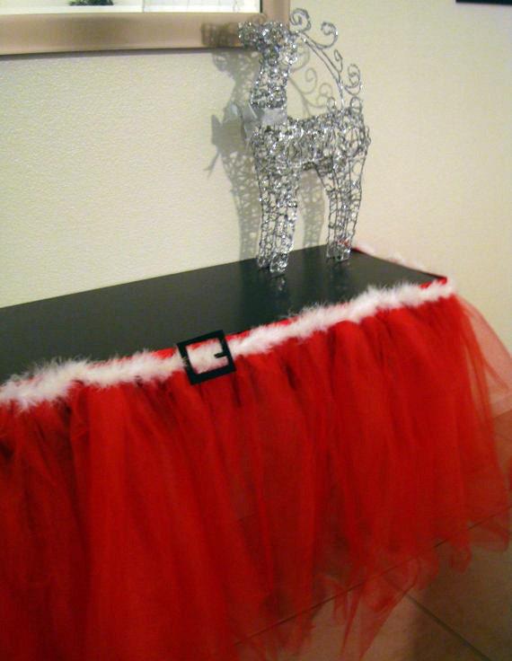 Santa Claus Holiday Party Tutu Table Skirt