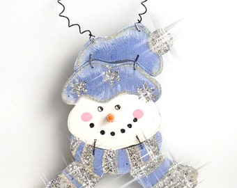 NOW 50% OFF!! Hand Painted Wood Snowman Large Ornament in Blue