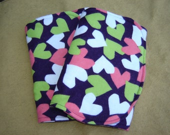 Two (2) Flannel Burp Cloths - Dark Purple with Pink, Green, and White Hearts - Quilted and Contoured - Baby Girl Shower Gift