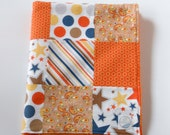 Minky Baby Boy Patchwork Blanket Quilt Riley Blake Super Star Orange Blue White 2 Sizes--Made to Order
