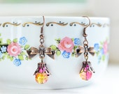 Yellow and Pink Copper Ribbon Dangle Earrings  - Casual Jewelry