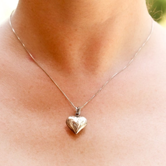 Sterling Silver Necklace with Puffed Heart Pendant on Sterling Box Chain