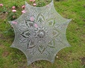 Elegant gray hand-crocheted parasol