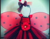 Lady Bug Tutu Dress Halloween Costume (can be worn 3 ways) Flower Girl, Birthday, Tutu, Wings