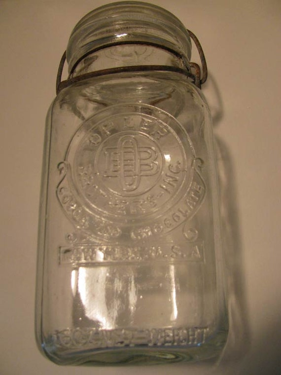 16 oz.. OPLER BROTHERS Cocoa and Chocolate New York, USA Canning Fruit Jar