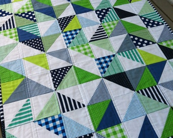 "Bespoke Custom Made Cot Crib Size Patchwork Quilt, in ""Geo"" pattern. Handmade to your choice. Baby Throw Toddler Blanket Geometric Nursery"