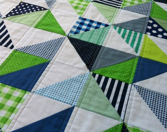 PDF Pattern for Geometric Modern Cot Crib Patchwork Quilt in triangles. Sew your own handmade quilt.