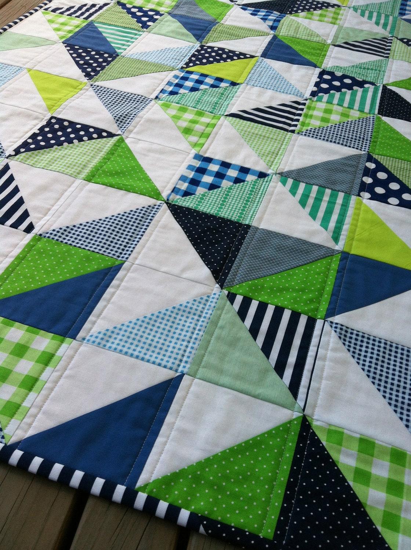 Modern Nursery Quilt Patterns : PDF Pattern for Geometric Modern Cot Crib Patchwork Quilt in