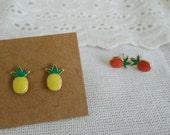 SALE tiny colorful vintage enamel, oval shaped, post earrings, stud earrings, dot earrings, metal earrings, minimal earrings  - pineapple