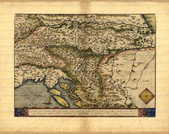 Map of the Balkans From 1500s 107 Ancient Old World Map Vintage Digital Travel Slovenia Croatia Bosnia Serbia Istria Hungary