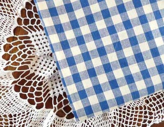 Antique FRENCH BLEU CHECKED Fabric, Bleu and Ivory, Vichy, Gingham cotton.