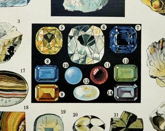 1900 Antique fine lithograph of PRECIOUS STONES, GEMSTONES: diamond, ruby, esmerald, gems. Minerals. 116 years old print.