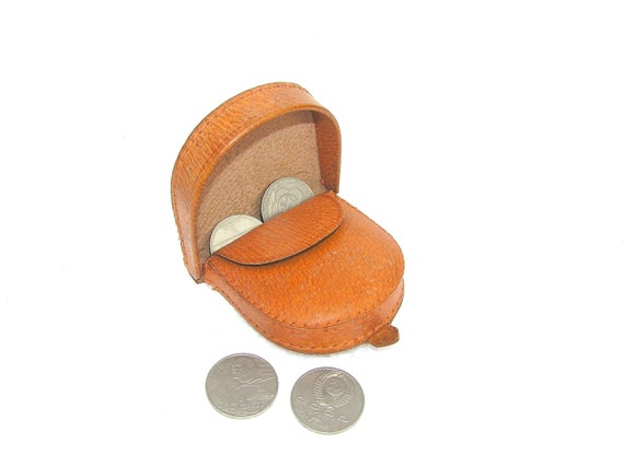Vintage change purse for coins light brown leather wallet