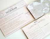 Items Similar To Retro Telegram Diy Wedding Invitation