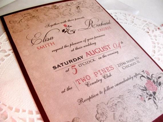 Spanish Wedding Invitations Examples: Spanish Rose Wedding Invitations Vintage By DesignedWithAmore