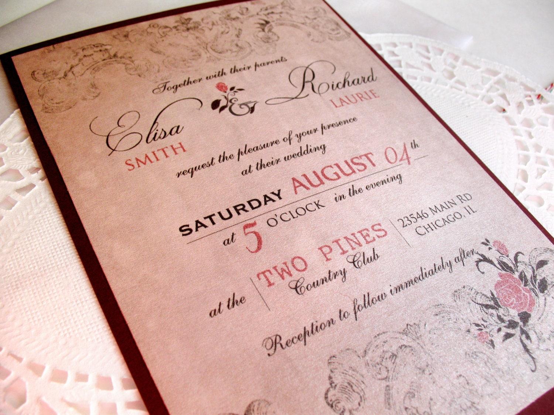 Wedding Invitation In Spanish Wording: Spanish Rose Wedding Invitations Vintage By DesignedWithAmore