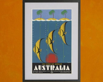 Australia - Great Barrier Reef Tourism Poster - 8.5x11 Poster Print - also available in 13x19 - see listing details
