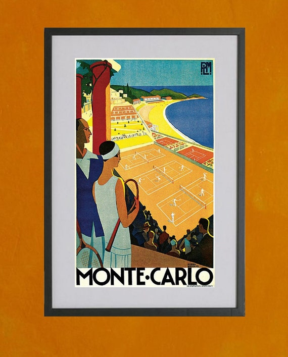 Monte Carlo Retro Travel Poster - 8.5x11 Poster Print - also available in 11x14 and 13x19 - see listing details