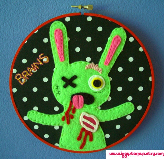 Zombie Bunny Embroidery Hoop 7 inches
