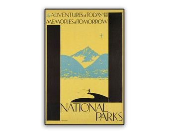 Vintage Travel Poster Reprint National Parks Adventures on 8x12 PopMount Ready to Hang FREE SHIPPING