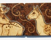 Pyrography His and Hers Fallow Deer Coasters OOAK