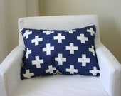 Industrial Chic Medical Cross Pillow - Blue and White Pillow - Lumbar Pillow - Accent Pillow - Cushion