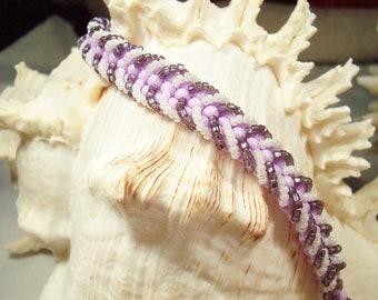 Purple & White Beaded Chevron Bracelet