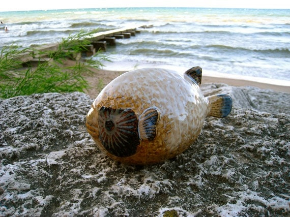 Decorative FISH Figurine, Statue, Pottery, Ocean, BEACH, SEASIDE, Home Decor, BlowFish, Puffer Fish, PufferFish, Porcupine Fish, Sushi