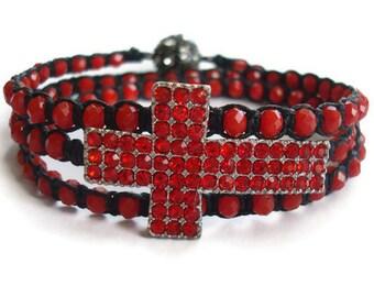 Red Rhinestone Cross Beaded Macrame Wrap Bracelet