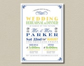 Printable Wedding Rehearsal and Dinner Invitation - Vintage Poster design in Navy, Yellow and Green (RD09)