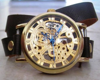 Mechanical Skelton Gold Watch - Leather Wrap Watch FREE SHIPPING