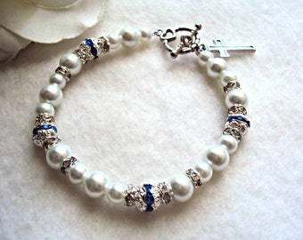 "The ""Something Blue"" bridal bracelet - custom sizing available"