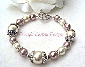 Womens Tan & Ivory Pearl Bracelet - CUSTOM SIZING AVAILABLE