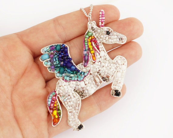 RESERVED FOR- Elissa Reeves: Unicorn meets Pegasus Beaded Necklace