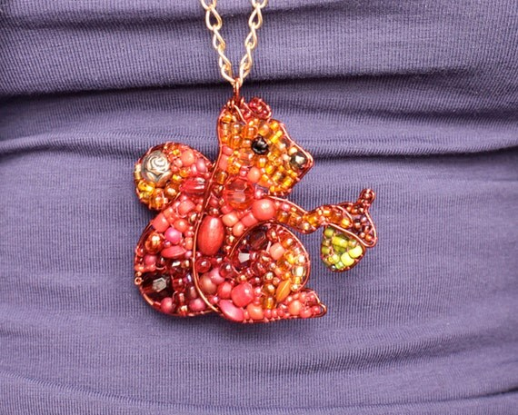 Reserved For Eleanor- Beaded Squirrel Necklace