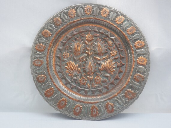 Copper Wall Hanging Plate Charger Turkish Round Wrought Hand